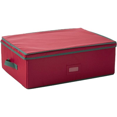 HOMZ 2 Tier 56 Ornament Keepsake Heirloom Christmas Holiday with Lid and Handles Divided Collapsible Foldable Large Storage Box Chest, Holiday Red
