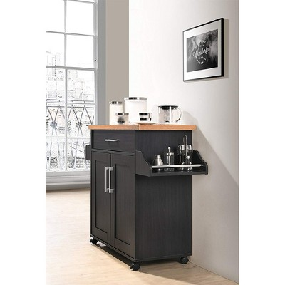 Hodedah Wheeled Kitchen Island With Spice Rack And Towel Holder, Black/Beech : Target