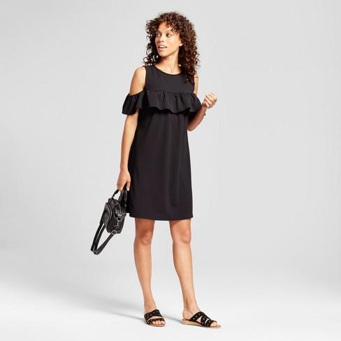 6241d44c6e7d3c Women's Cold Shoulder Ruffle Dress - Alison Andrews® Black : Target