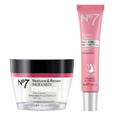 No7 Restore & Renew Face & Neck Multi Action Serum and Restore & Renew Face & Neck Multi Action Day Cream - 2ct