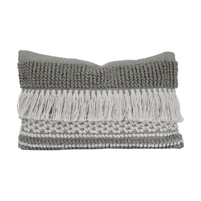 """Gray Striped Hand Woven 14X22"""" Outdoor Decorative Throw Pillow with Hand Tied Fringe - Foreside Home & Garden"""