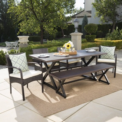 Palermo 6pc Aluminum & Wicker Patio Dining Set - Brown - Christopher Knight Home