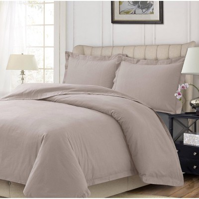 3pc Queen Cotton Flannel Oversized Duvet Set Oatmeal - Tribeca Living