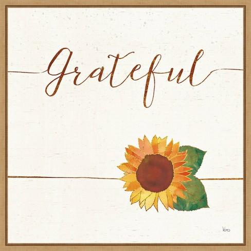 """16"""" X 16"""" Grateful Fall Sunflower By Veronique Charron Framed Canvas Wall Art - Amanti Art : Target"""