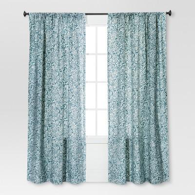 Floral Paisley Window Curtain Panel Blue (54 x84 )- Threshold™