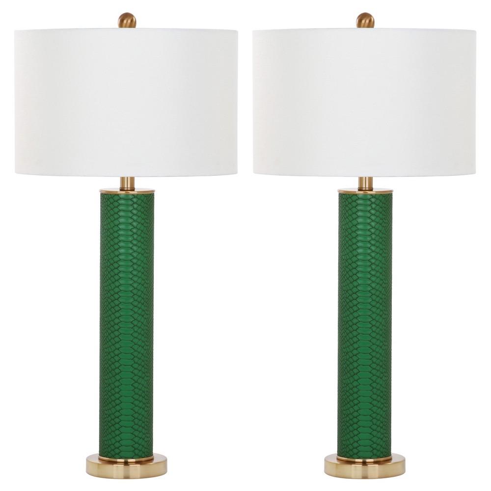Image of Ollie Dark Green Faux Snakeskin Table Lamp Set of 2 - Safavieh
