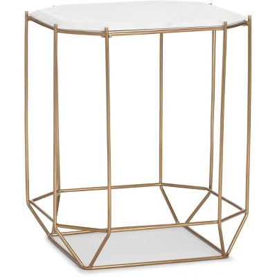 Colton Solid Marble Top Accent Table with Metal Base White/Gold - Finch