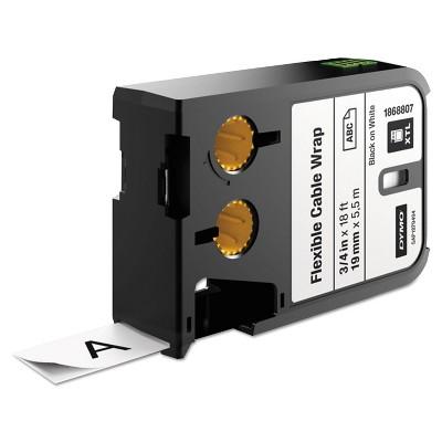 """DYMO XTL Flexible Cable Wrap Labels 3/4"""" x 18 ft. White/Black Print 1868807"""