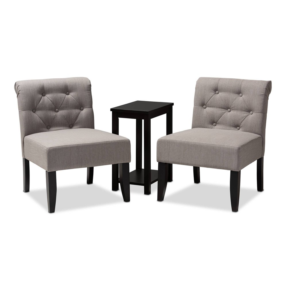 3pc Veda Accent Chair & Table Set Gray - Baxton Studio