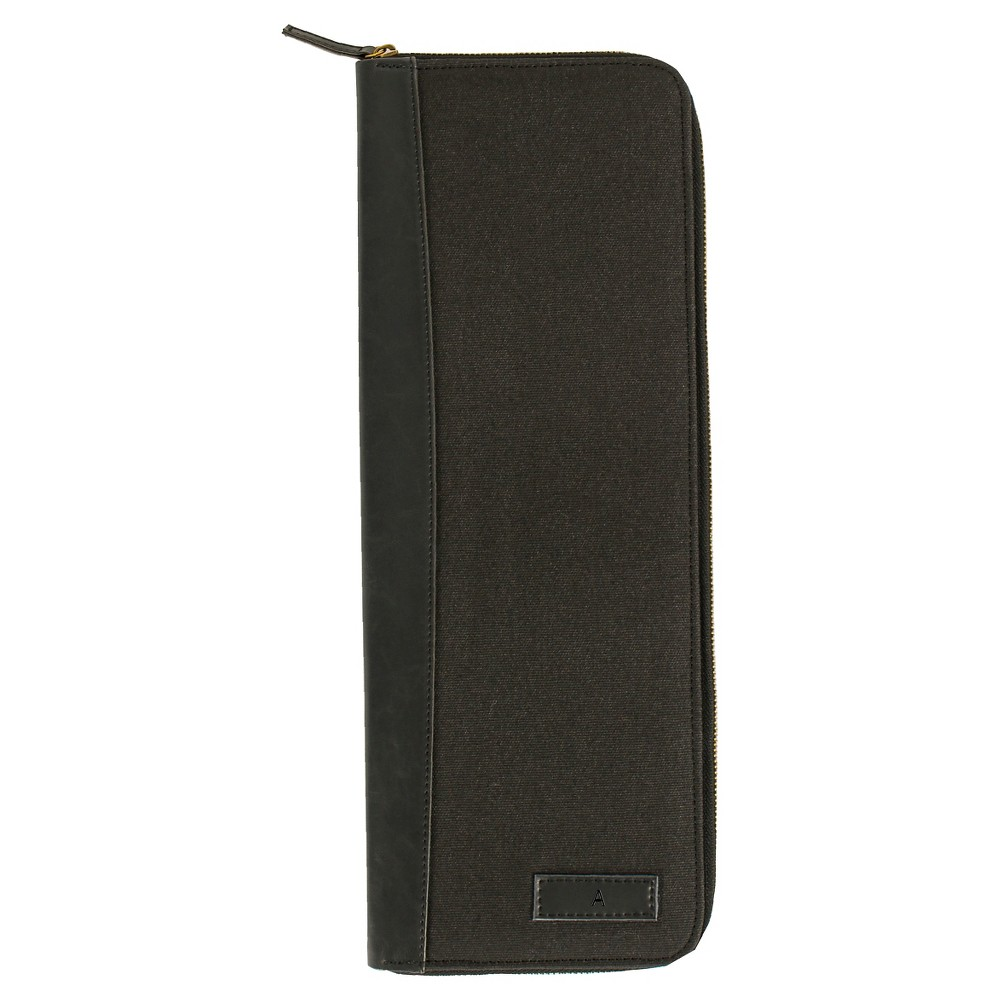 Monogram Groomsmen Gift Travel Tie Case Jewelry Box - A, Black