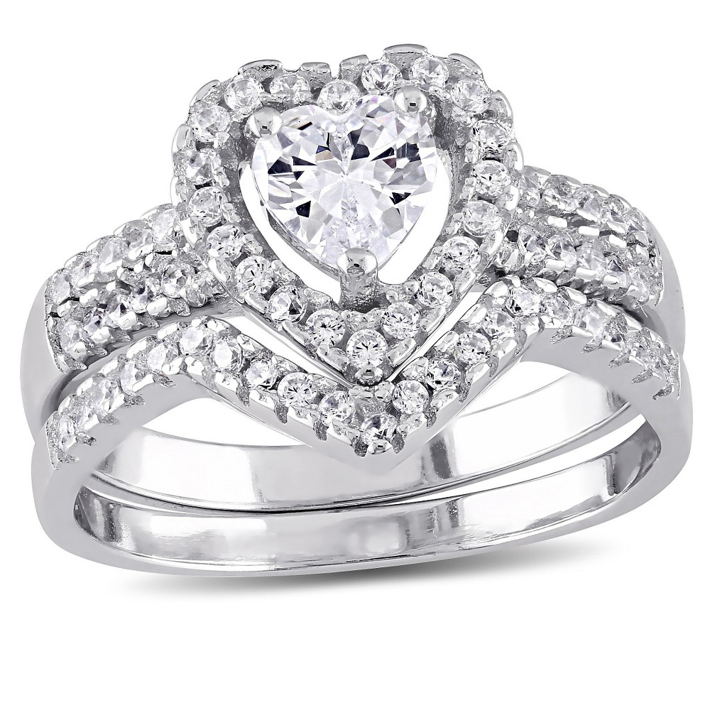 1 3/8 CT. T.W. Heart Cubic Zirconia Halo Bridal Set in Sterling Silver - (8), White