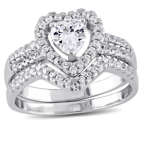 1 3/8 CT. T.W. Heart Cubic Zirconia Halo Bridal Set in Sterling Silver - image 1 of 3