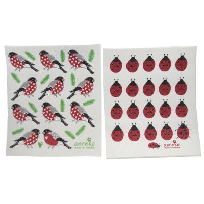 "Swedish Dish Cloth 7.75"" Ladybugs And Robins Dish Cloths Eco-Friendly Absorbant  -  Dish Cloth"