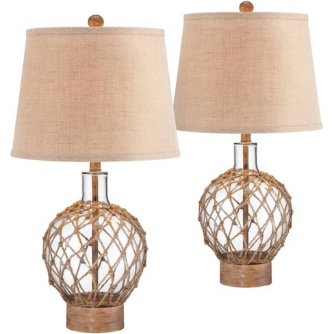360 Lighting Coastal Table Lamps Set of 2 Rope and Clear Glass Jug Burlap Drum Shade for Living Room Family Bedroom Nightstand - image 1 of 4
