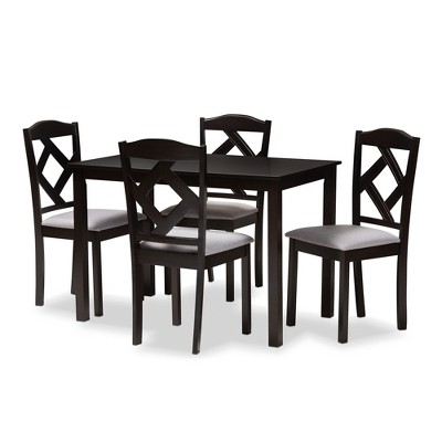 5pc Ruth Espresso Finished Dining Set Gray/Brown - Baxton Studio
