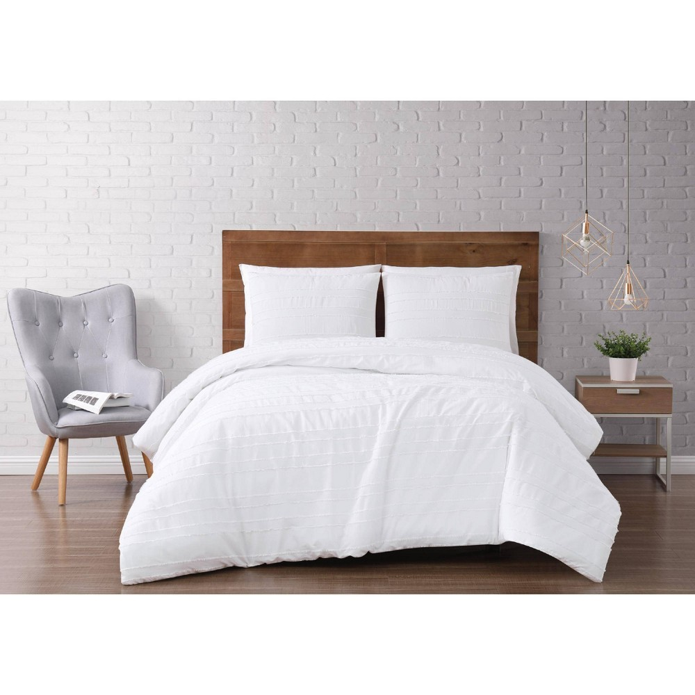Image of Full/Queen 3pc Carlisle Stripe Clipped Jacquard Comforter Set White - Brooklyn Loom