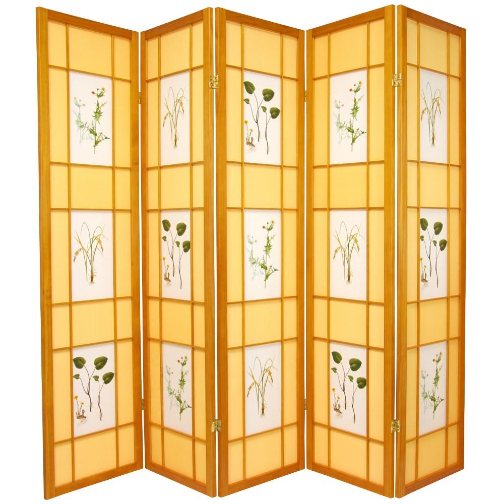 Oriental Furniture 6' Tall Herbal Floral Shoji Screen 5 Panel Honey