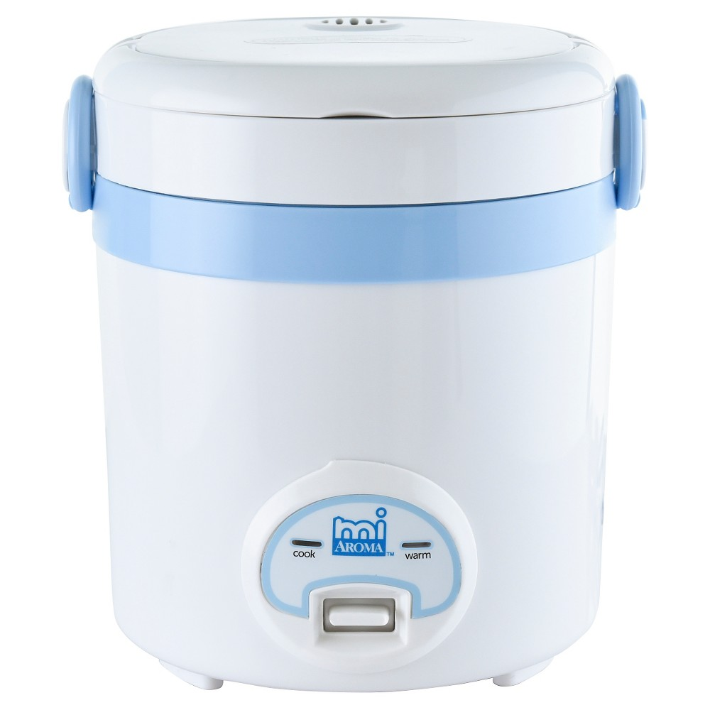 Aroma 3 Cup Electric Rice Cooker, Artic Blue Have a meal with mi or invite a friend, with this mini rice cooker from Aroma. Mi makes 3 cups of cooked rice for precise and delicious results. It also makes cake, soup, pasta, omelets and so much more with just the right recipes! It's mini, portable, quick and compact. Sleek handle design that easily lifts up and snaps down. Easy-to-use programmable digital controls with automatic Keep-Warm and White Rice and Brown Rice functions. Removable nonstock cooking pot with cooking lid. Top rack dishwasher safe parts. Color: Artic Blue.
