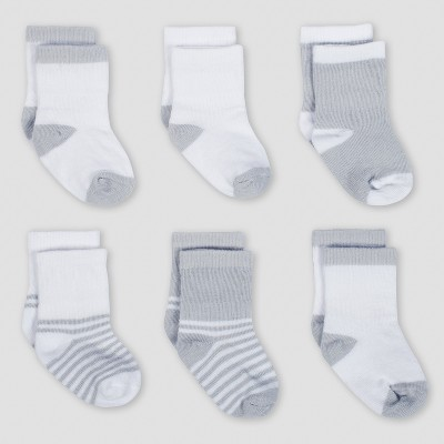 Gerber Baby 6pk Jersey Crew Wiggle Proof Sock Sheep - Gray 0/6M