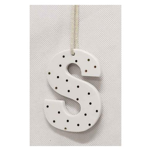 Christmas Monogram Ceramic Topper Letters Ornaments S - sugar paper™ - image 1 of 1