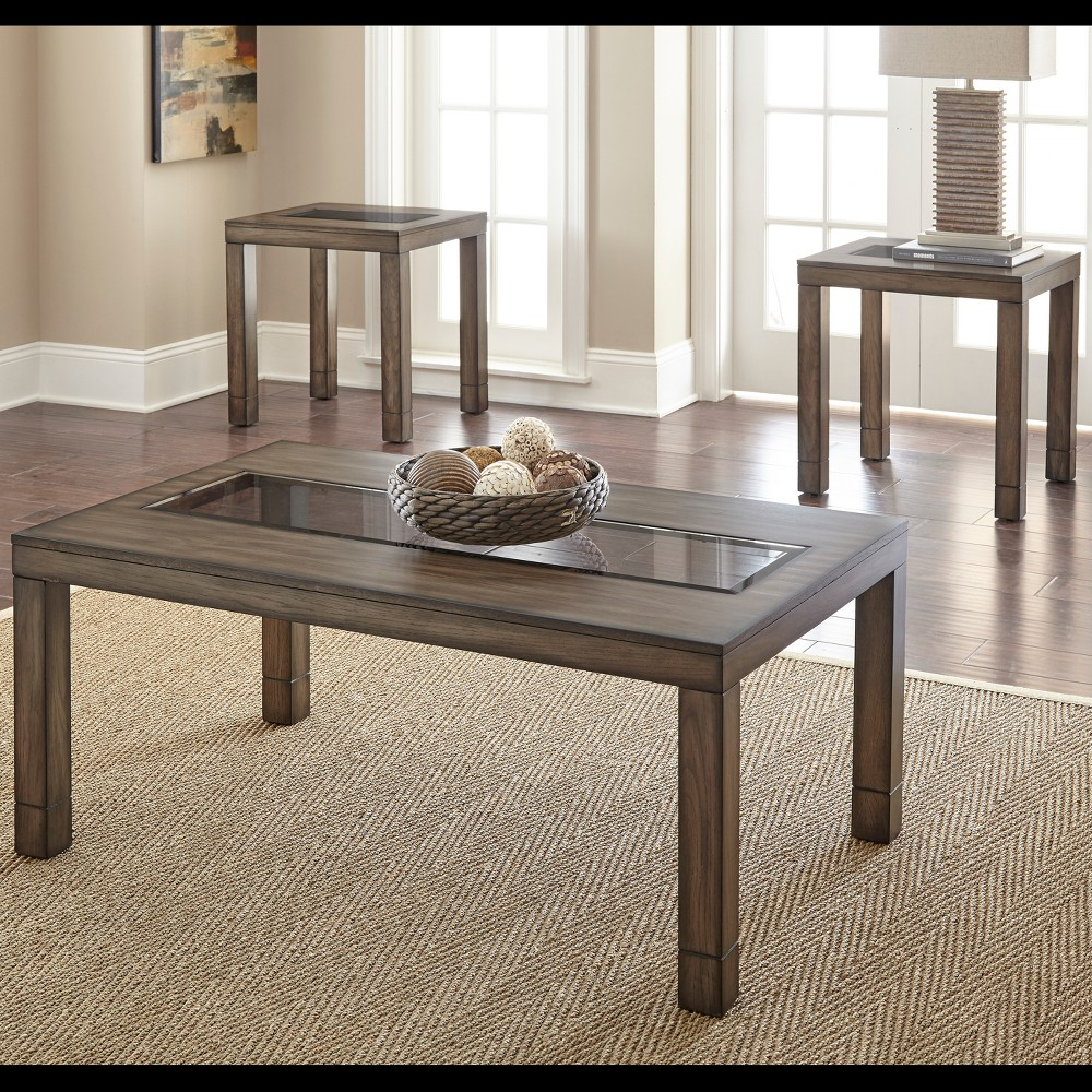Image of 3pk Normandy Occasional Table Distressed Oak - Steve Silver