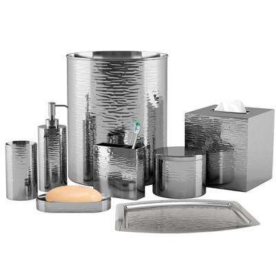 Metropolitan Metal Bath Accessory Set for Vanity Counter Tops Silver - Nu Steel