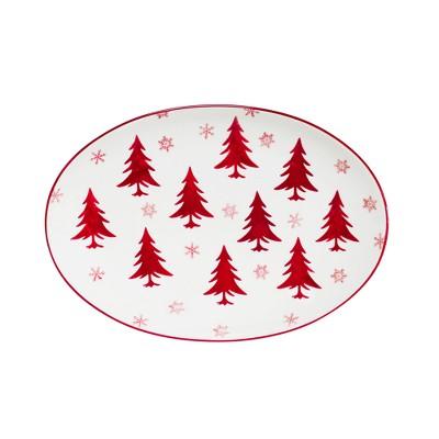 Euro Ceramica Winterfest Ceramic Oval Serving Platter 14.5  - Red/White