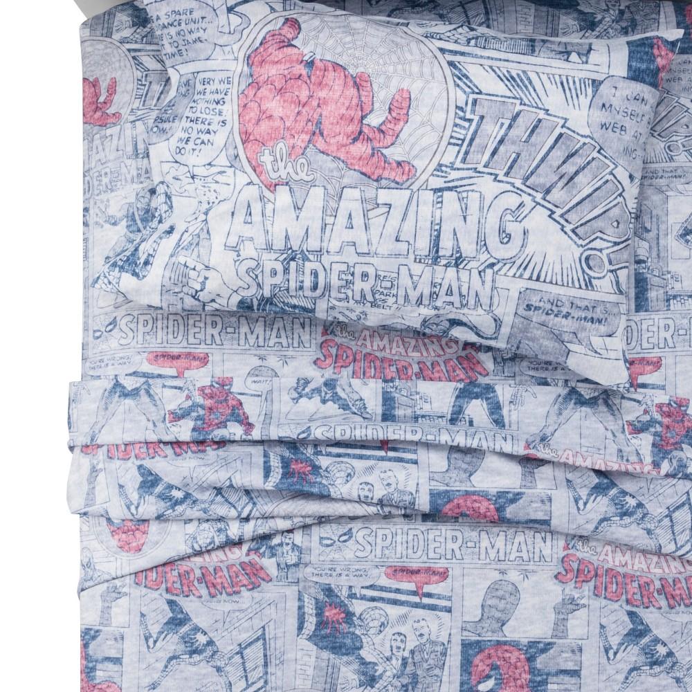 Spider-Man Hero Gray & Blue Sheet Set (Twin XL) 3pc, Blue Gray