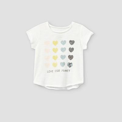 Grayson Mini Toddler Girls' 'Love Our Planet' Short Sleeve T-Shirt - White