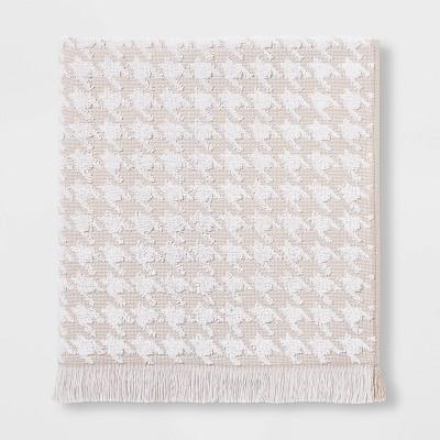 Houndstooth Fringe Terry Bath Towel Beige - Threshold™