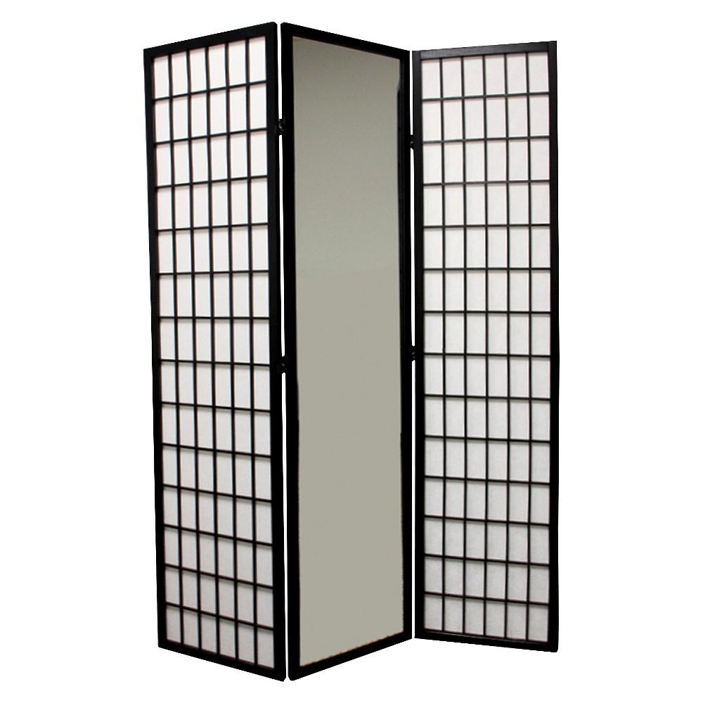 3 Panel Room Divider Black - Ore International