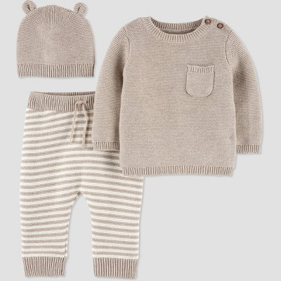 Baby 3pc Sweater Top & Bottom Set - Just One You® made by carter's Beige Newborn