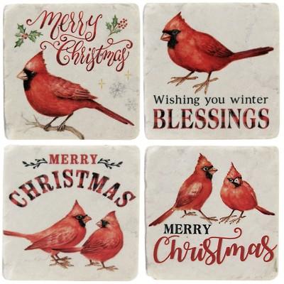 "Tabletop 3.75"" Cardinal Text Coaster Set Christmas Red Birds Ganz  -  Coasters"