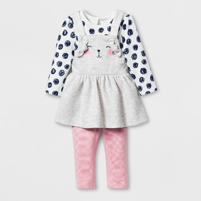 Baby Girls' 2pc Long Sleeve Bodysuit and Skirtall Set - Cat & Jack™ Gray 0-3M