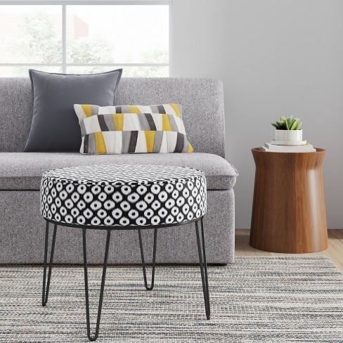 Carman Round Ottoman With Hairpin Legs Blackwhite Ikat Project 62