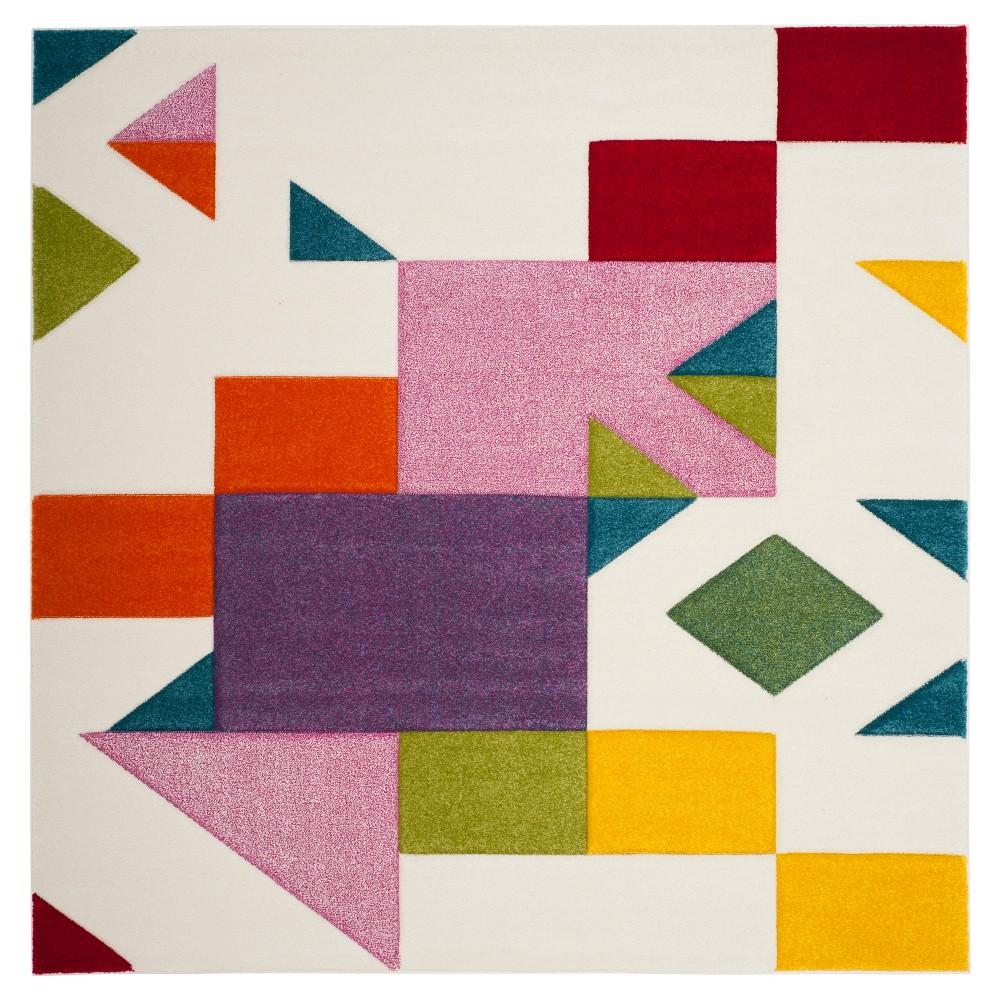 Ivory/Rose (Ivory/Pink) Geometric Loomed Square Area Rug 6'7