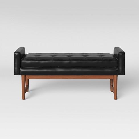 Wondrous Verken Mid Century Modern Faux Leather Bench Black Project 62 Gamerscity Chair Design For Home Gamerscityorg