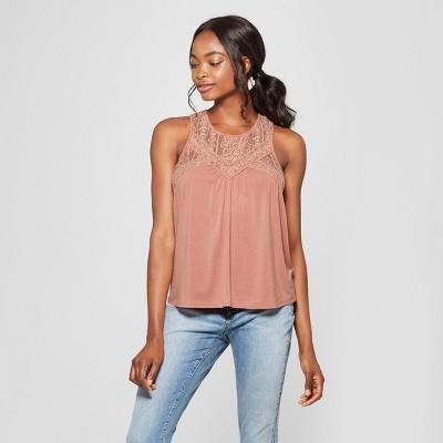 Women's Lace Detail Knit Sleeveless Top - Xhilaration™ Mauve M