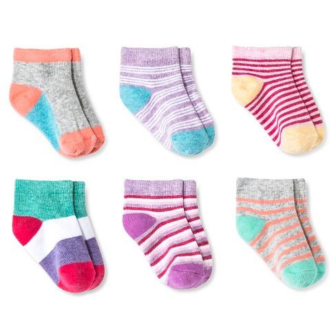 Baby Girls' Low Cut Socks 6 pk Circo™ - Multicolored 6-12M - image 1 of 1