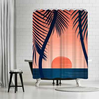 """Americanflat Peace And Palms by Modern Tropical 71"""" x 74"""" Shower Curtain"""