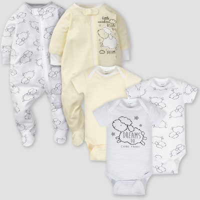 Gerber Baby 5pk Lamb Short Sleeve Onesies and Sleep N' Play - White/Yellow 3-6M