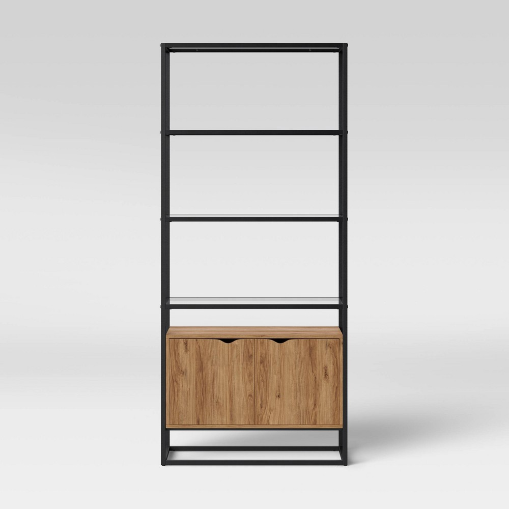 Ada Mixed Material Bookcase with Glass - Project 62