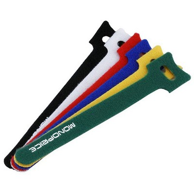 Monoprice Hook and Loop Fastening Cable Ties, 6in, 120 pcs/pack, 6 Colors