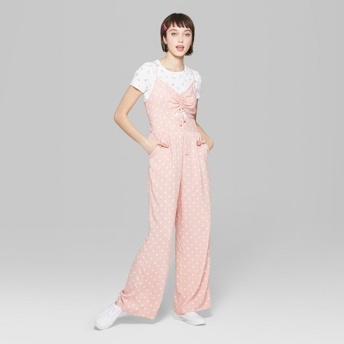 b274754ca9 Women s Polka Dot Strappy Ruched Front Cutout Jumpsuit - Wild Fable™ Light  Pink L   Target