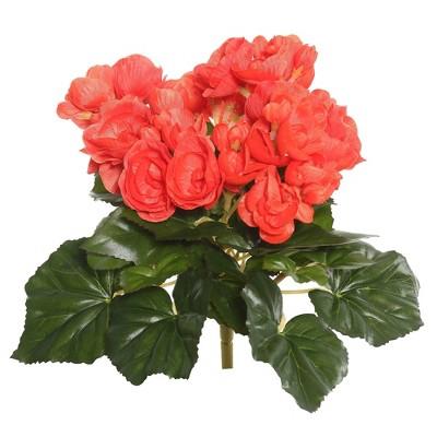 "Artificial Begonia Bush (9.5"") Orange - Vickerman"