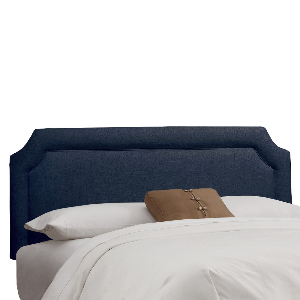 Full Clarendon Notched Headboard Linen Navy (Blue) - Skyline Furniture