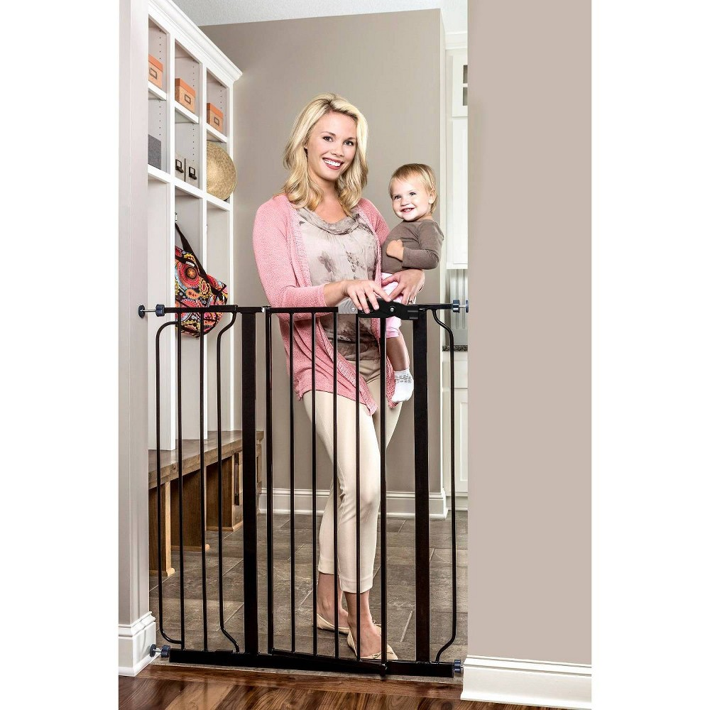 Image of Regalo Extra Tall Easy Step Metal Walk -Through Baby Gate - Black