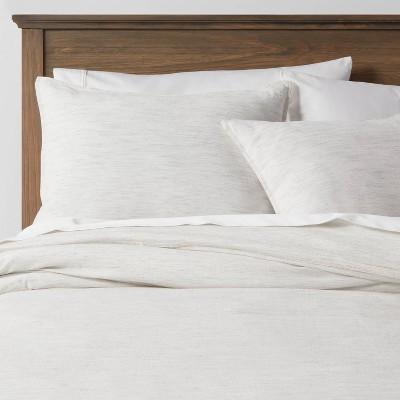 3pc California King Space Dyed Cotton Linen Duvet & Sham Set Light Gray - Threshold™