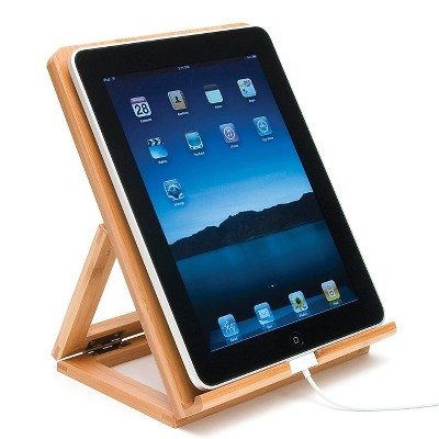 Lipper International Compact Convenient Portable Folding Home Wood Tablet Stand With Bottom Charger Slot, Bamboo : Target