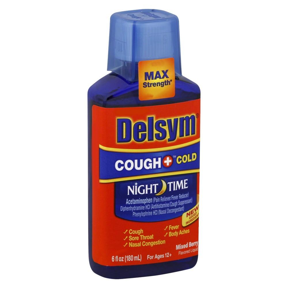 Delsym Adult Cough & Cold Night Time Liquid Medicine - Mixed Berry - 6 fl oz